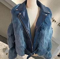 Женская кожаная куртка с меховыми вставками. Модель 2566, фото 4