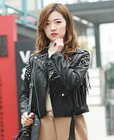 Женская кожаная куртка с шипами. Модель 657-2, фото 2