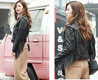 Женская кожаная куртка с шипами. Модель 657-2, фото 5