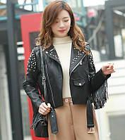 Женская кожаная куртка с шипами. Модель 657-2, фото 3