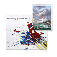 "Картина по номерам Lesko DIY Y5064 ""Одинокий маяк"" 40-50см набор для творчества живопись, фото 5"