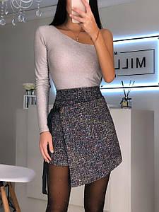 Стильная женская асимметричная юбка из букле 42-44 р