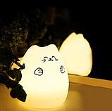 Силиконовый ночник «Котик с лапками» с пультом, фото 4