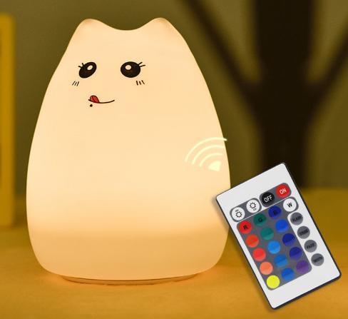 Силиконовый ночник «Котик с язычком» с пультом