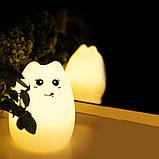Силиконовый ночник «Котик с язычком» с пультом, фото 4