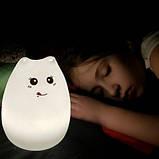 Силиконовый ночник «Котик с язычком» с пультом, фото 5
