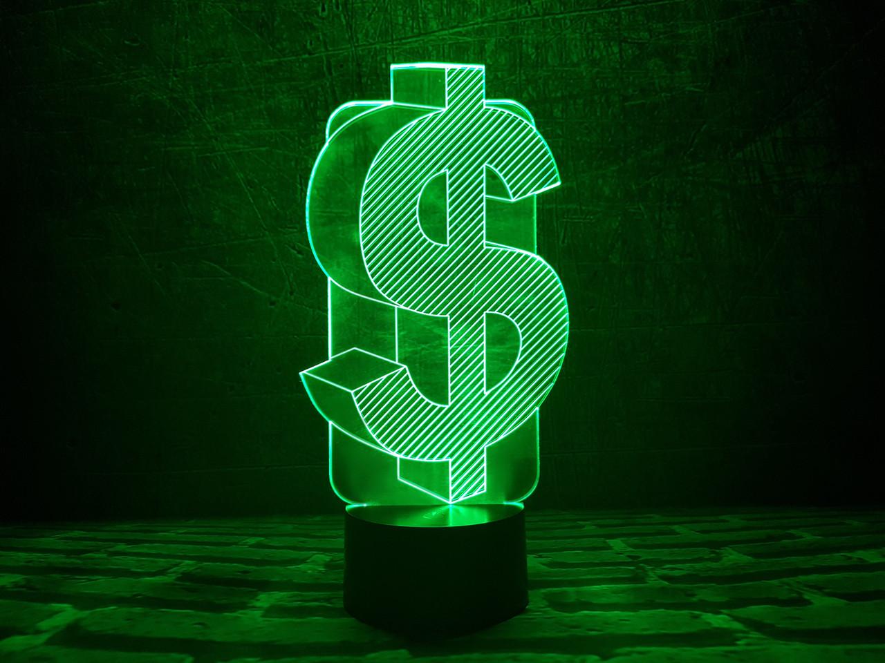 "3Д светильник ""Доллар"" 3DTOYSLAMP"