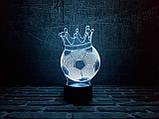 """3d светильник """"Футбольный мяч с короной"""" 3DTOYSLAMP, фото 2"""
