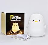 Силіконовий нічник Пінгвін Білий, фото 4