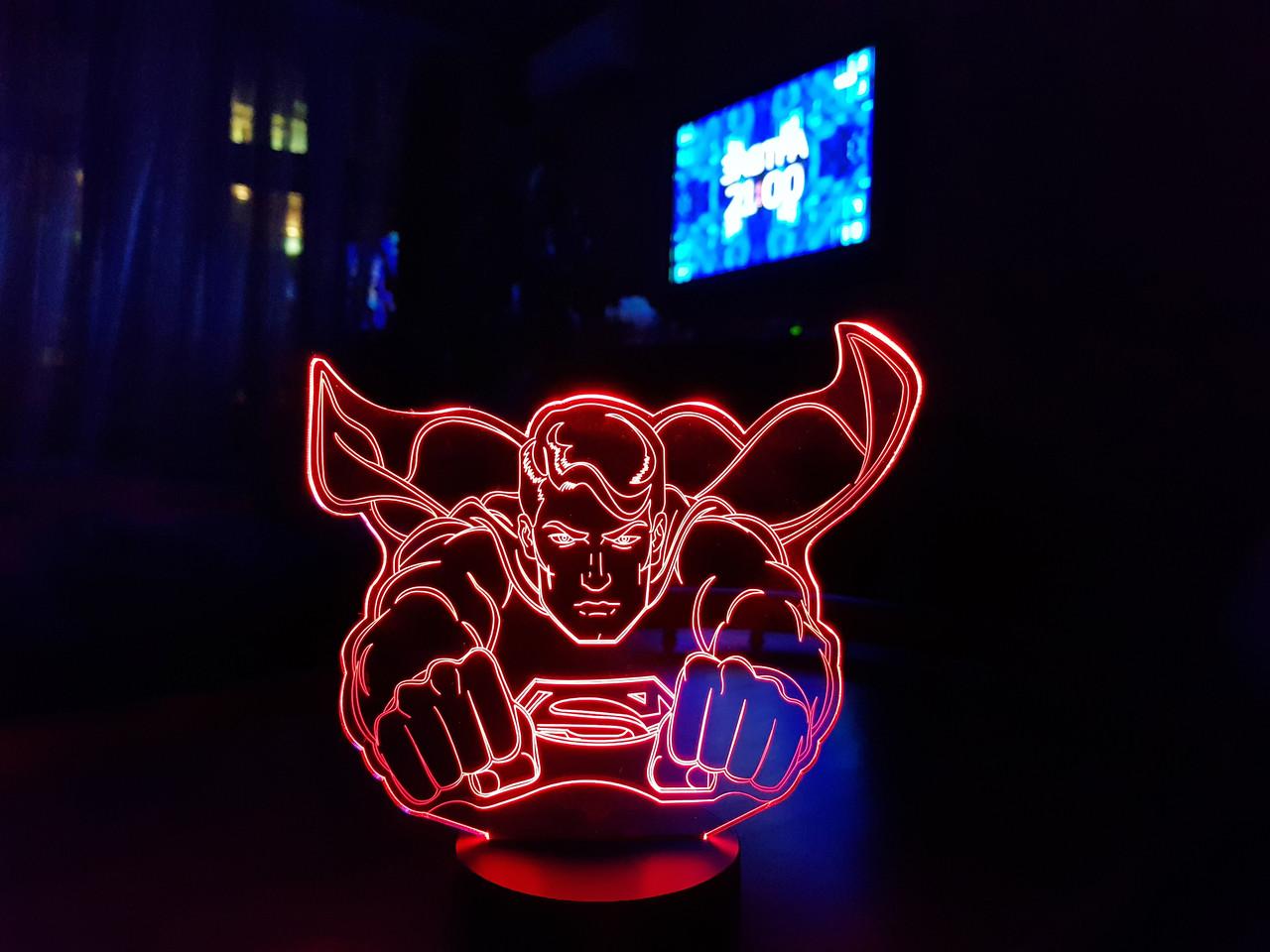 """Детский ночник для мальчика """"Супермен"""" 3DTOYSLAMP"""