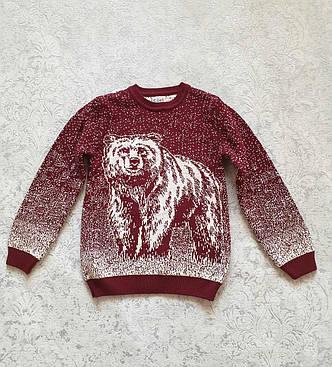 Детский вязаный свитер с медведем на мальчиков 5-11 лет Турция бордовый, фото 2