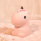 Силиконовый ночник Радужный единорог Розовый, фото 5