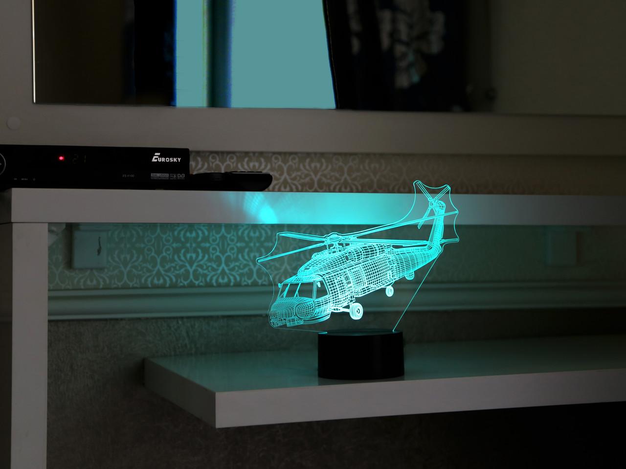 """3D светильник ночник """"Вертолет"""" 3DTOYSLAMP"""