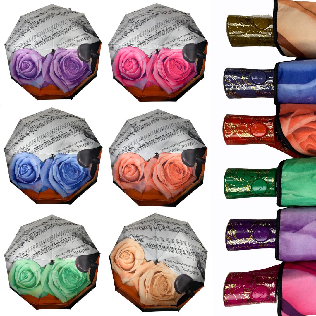 Женский зонт-полуавтомат от Max, с принтом нот и цветков розы, 127