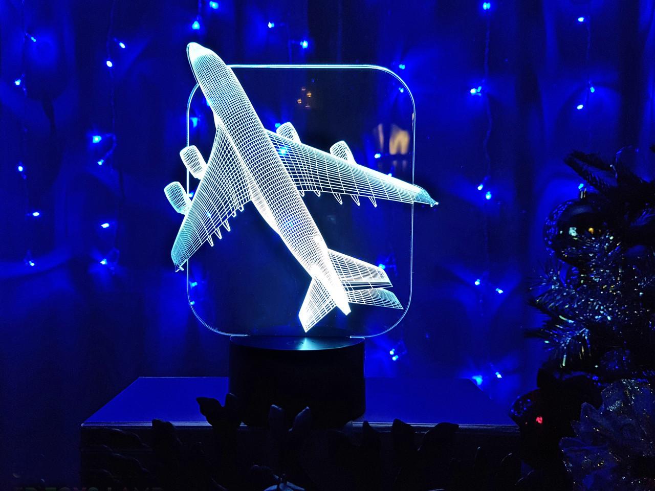 """Детский ночник - светильник """"Самолет"""" 3DTOYSLAMP"""