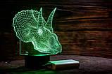 """Детский ночник - светильник """" Трицераптор"""" 3DTOYSLAMP, фото 2"""