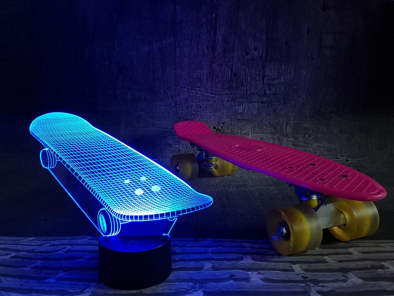 """Детский ночник — светильник """"Скейт"""" 3DTOYSLAMP"""