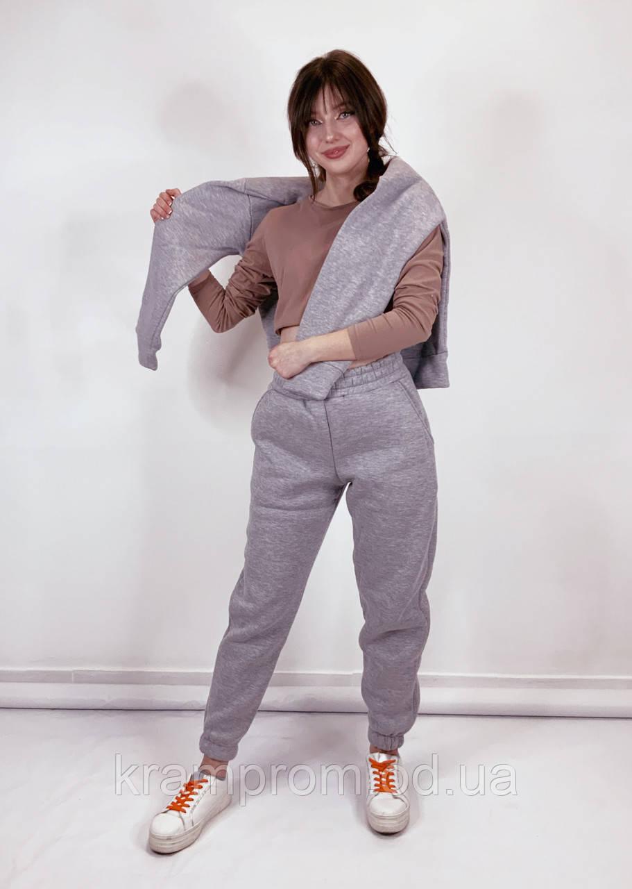Стильный зимний тёплый женский костюм на флисе
