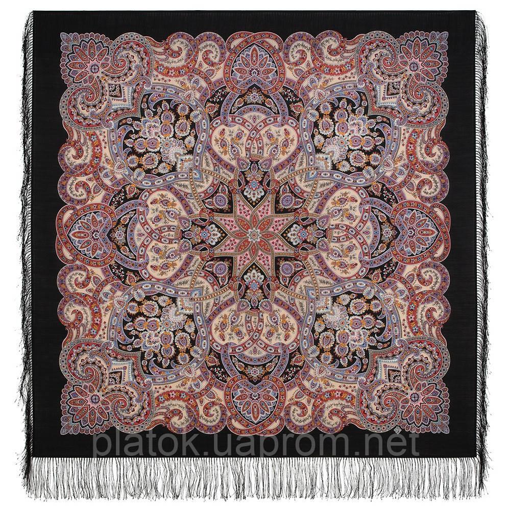 Праздничный город  1921-18, павлопосадский платок из шерсти с шелковой бахромой