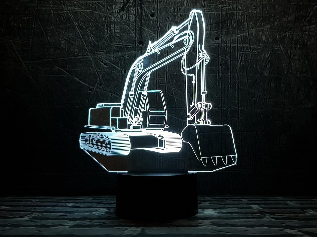 """3D светильник ночник """"Экскаватор"""" 3DTOYSLAMP"""