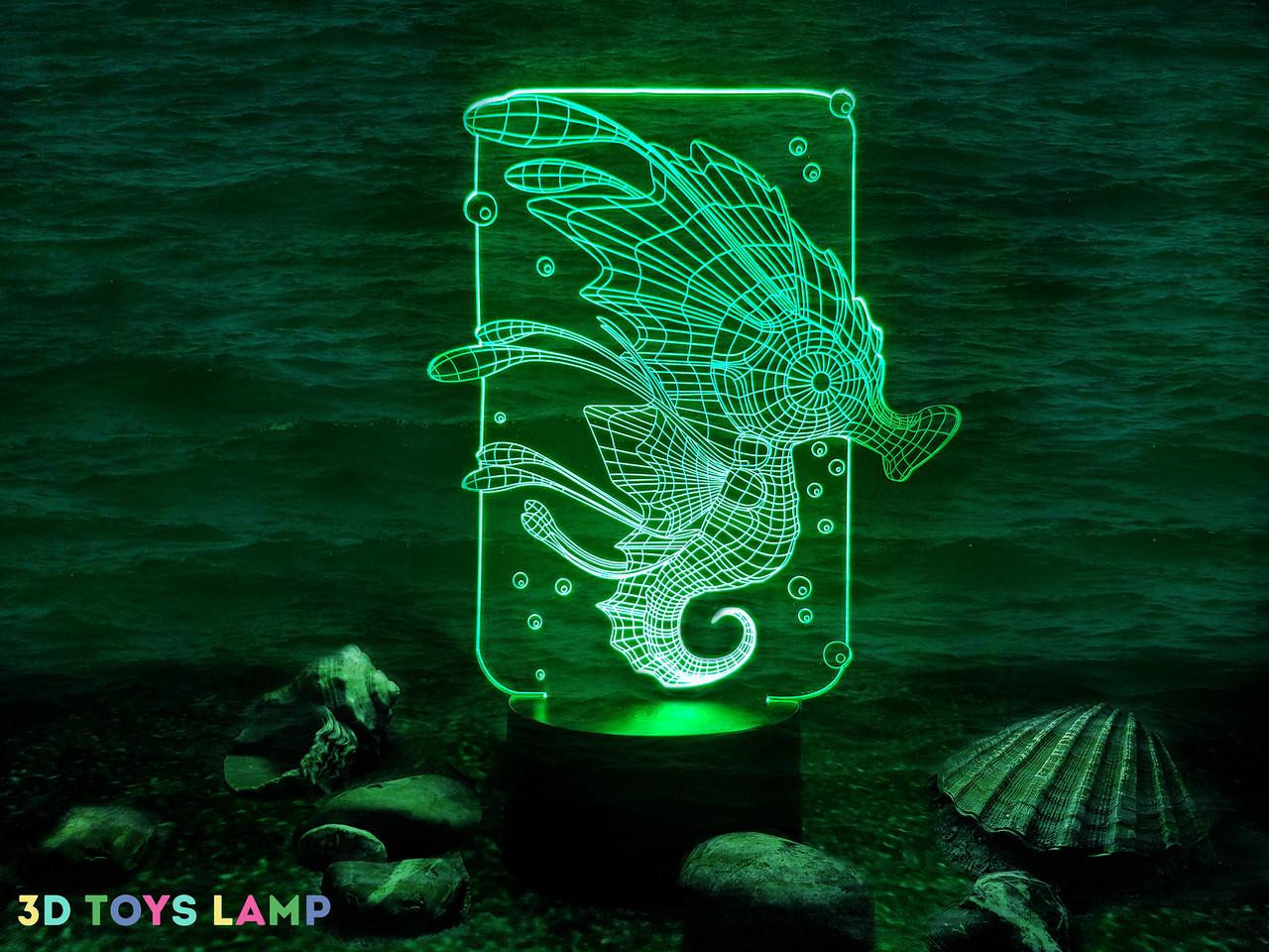 """Детский ночник - светильник """"Морской конек"""" 3DTOYSLAMP"""