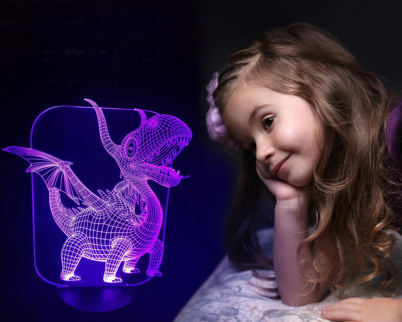 """Детский ночник - светильник """"Дракоша"""" 3DTOYSLAMP"""