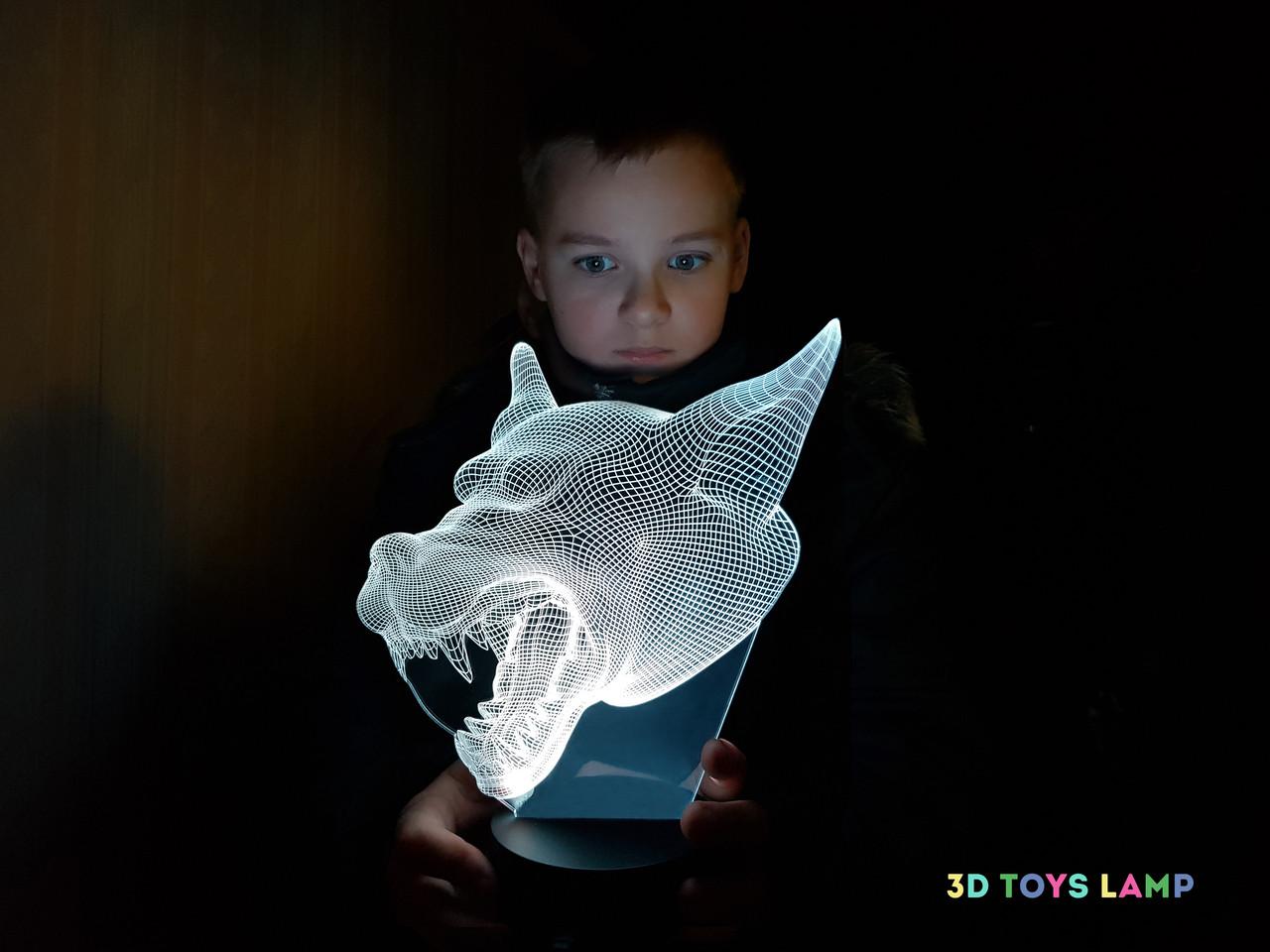 """Детский ночник - светильник """"Волк 3"""" 3DTOYSLAMP"""