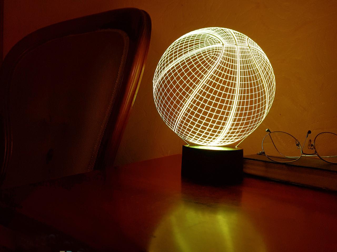 """Детский ночник - светильник """"Баскетбольный мяч"""" 3DTOYSLAMP"""