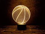 """Детский ночник - светильник """"Баскетбольный мяч"""" 3DTOYSLAMP, фото 2"""