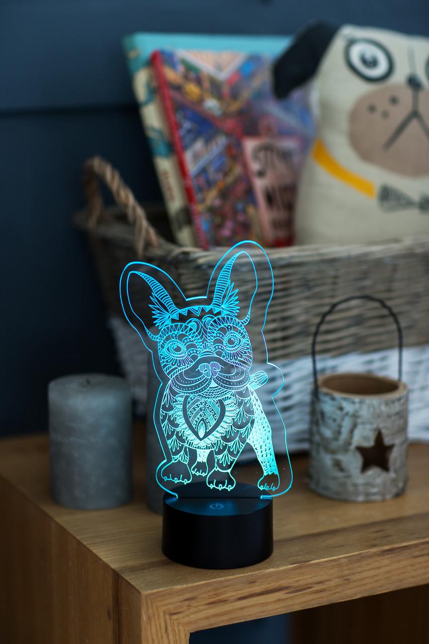 """3D светильник-ночник """"Бульдог 2 """" 3DTOYSLAMP"""