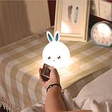 Силиконовый ночник Кролик с голубыми ушками 16 цветов Пульт ДУ, фото 3