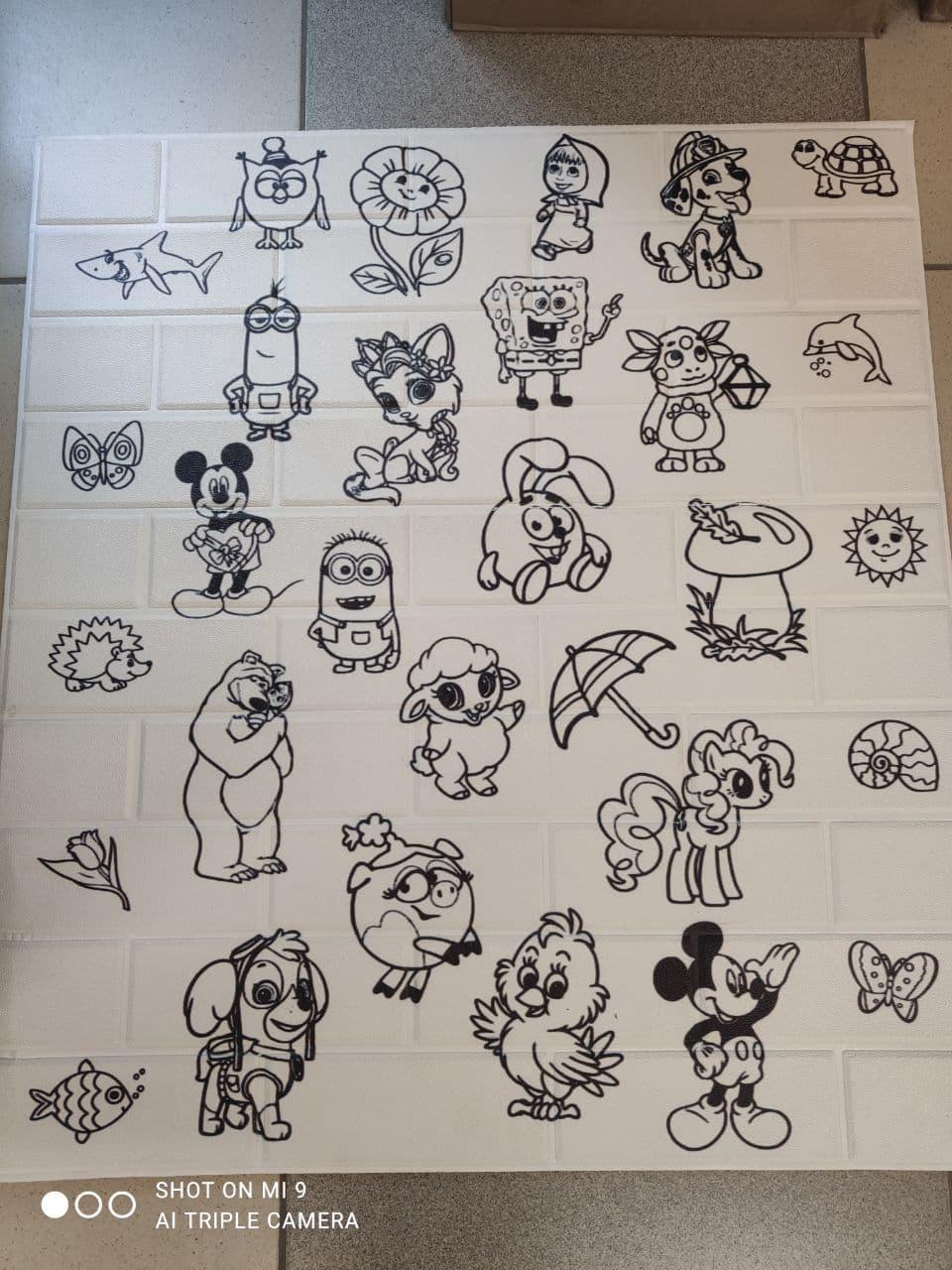 Панель стінова 3D Sticker Wall Wall Sticker самоклеюча 70х77 см сіро-помаранчевий цегла графіті