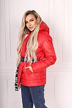 """Стеганая зимняя женская куртка """"Ontario"""" с капюшоном и поясом, фото 2"""