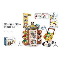 Большой Игровой набор Мой Магазин Супермаркет, прилавок,касса, сканер, продукты, тележка, 668-79,77,79