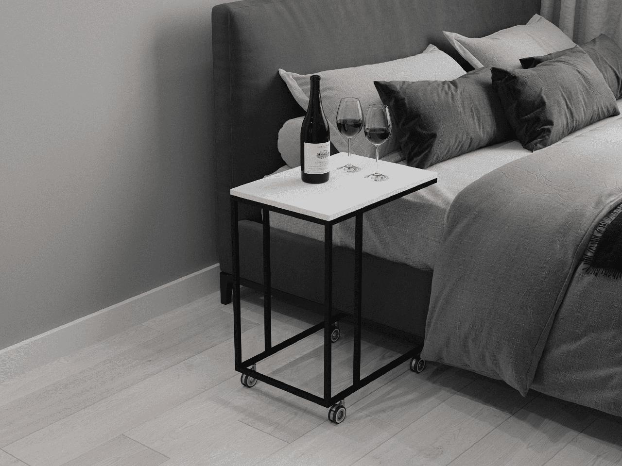 Журнальный столик на колесиках, прикроватный столик лофт