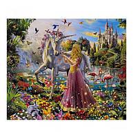 """Картина раскраска по номерам """"Девушка с единорогом"""", 40х50см. №30556"""