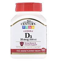 21st CENTURY Витамин D3, 10 mg, 110 шт, фото 1