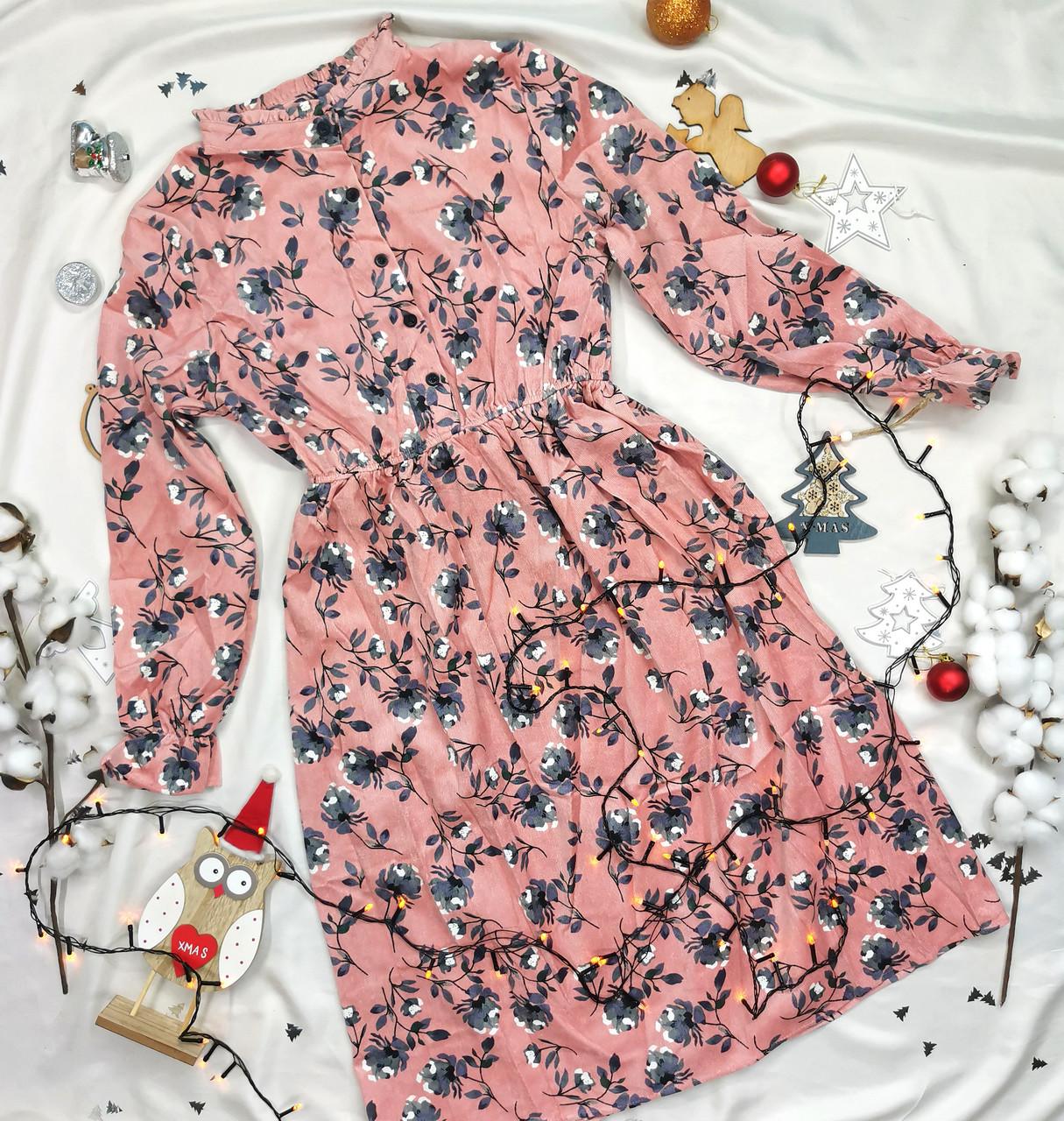 Вельветова класична сукня міді рожева в квіти