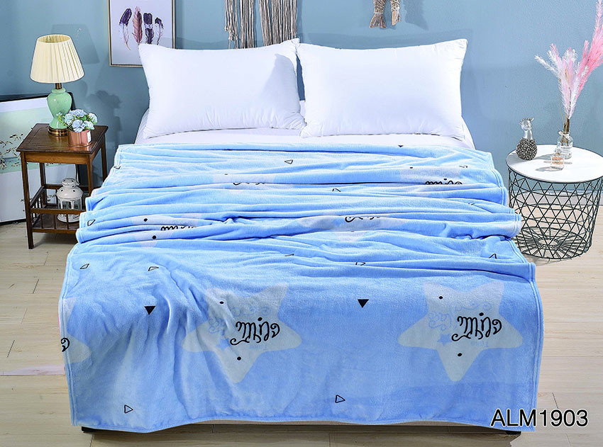 Плед покрывало 200х220 велсофт Голубое на кровать, диван