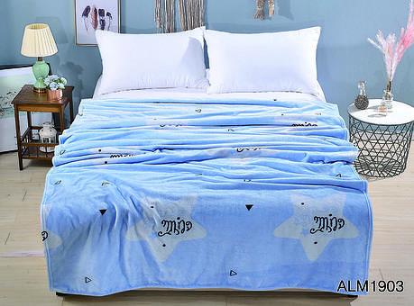 Плед покрывало 200х220 велсофт Голубое на кровать, диван, фото 2