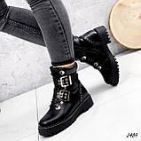 Женские зимние ботинки с ремешками на толстой подошве, фото 2