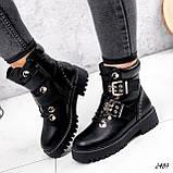 Женские зимние ботинки с ремешками на толстой подошве, фото 3