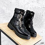 Женские зимние ботинки с ремешками на толстой подошве, фото 4
