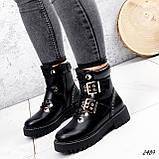 Женские зимние ботинки с ремешками на толстой подошве, фото 5
