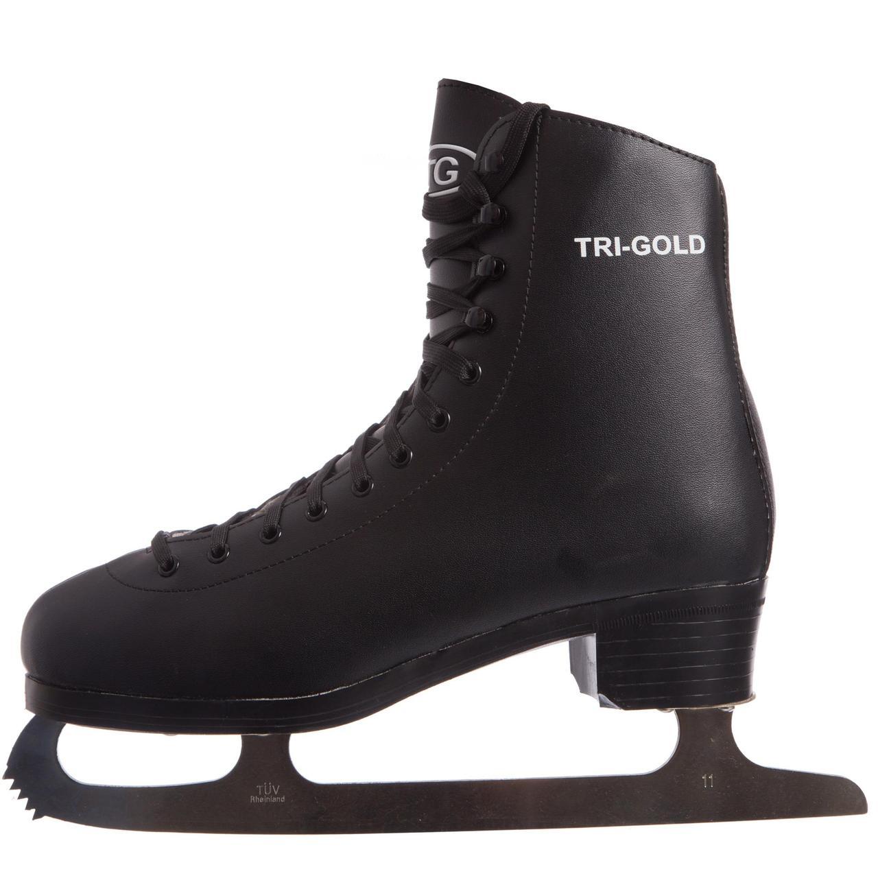 Ковзани фігурні чорні PVC TG-FO333B (р-р 42-45, лезо-сталь, чорний)