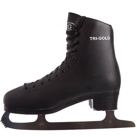 Ковзани фігурні чорні PVC TG-FO333B (р-р 42-45, лезо-сталь, чорний), фото 2