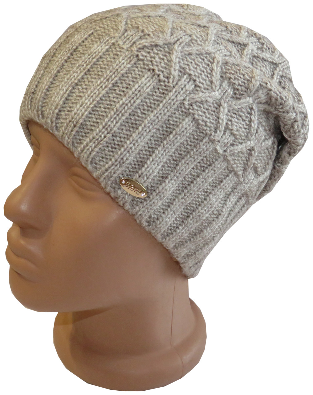 Зимова жіноча в'язана шапка Nord на флісі, беж