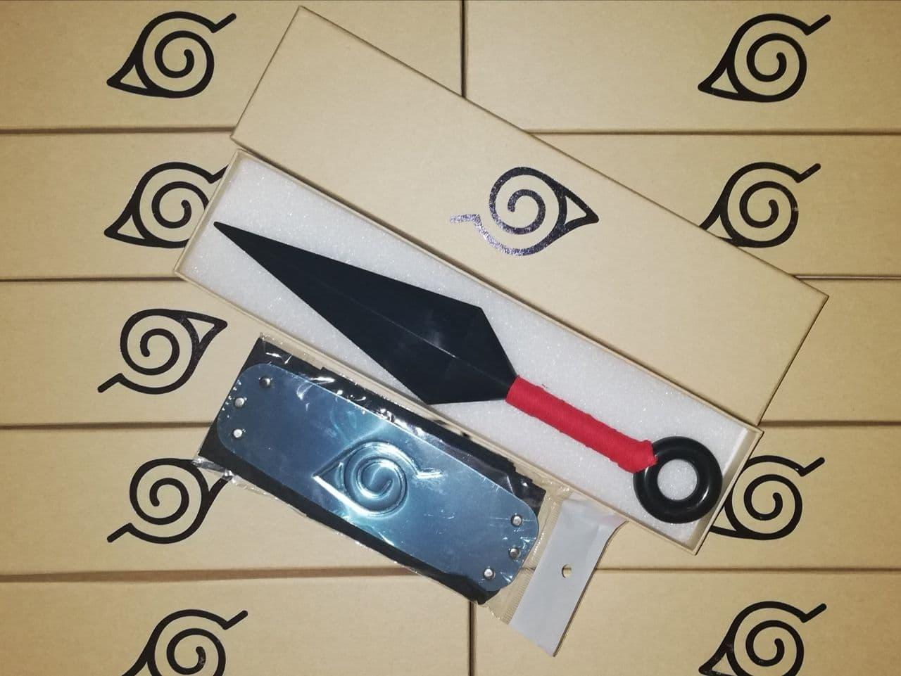 Набор аксессуаров Наруто, 2в1, налобный протектор, красный кунай - Naruto Set