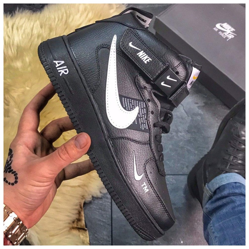 Зимние кроссовки Nike Air Force High Black Fur найк аир форс 1 хай зимові кросівки Nike Air Force 1 High '07