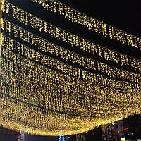 Вулична Гірлянда  Бахрома Оптом 12x0,6 метра 360 LED, 60 нитей, 220В, IP55, Золото, FS-1793-65
